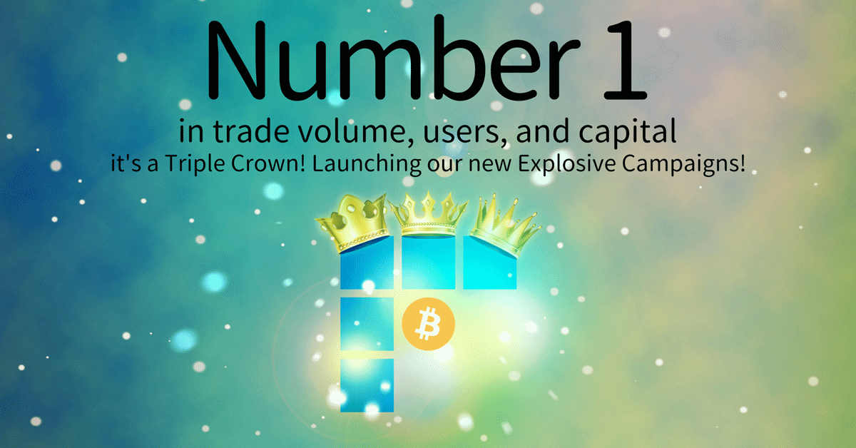 Number one in trade volume, users, and capital -- it's a Triple Crown! Launching our new Explosive Campaigns!